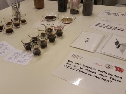 Mitmachaktion zum Thema kalt aufgebrühter Kaffee mit Kostproben und Fragebogen