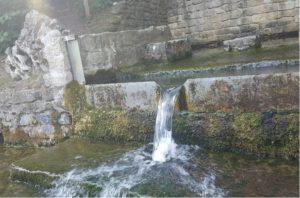 Kleiner Wasserwall im mit Moos und Algen bewachsenen Blaubrunnen.