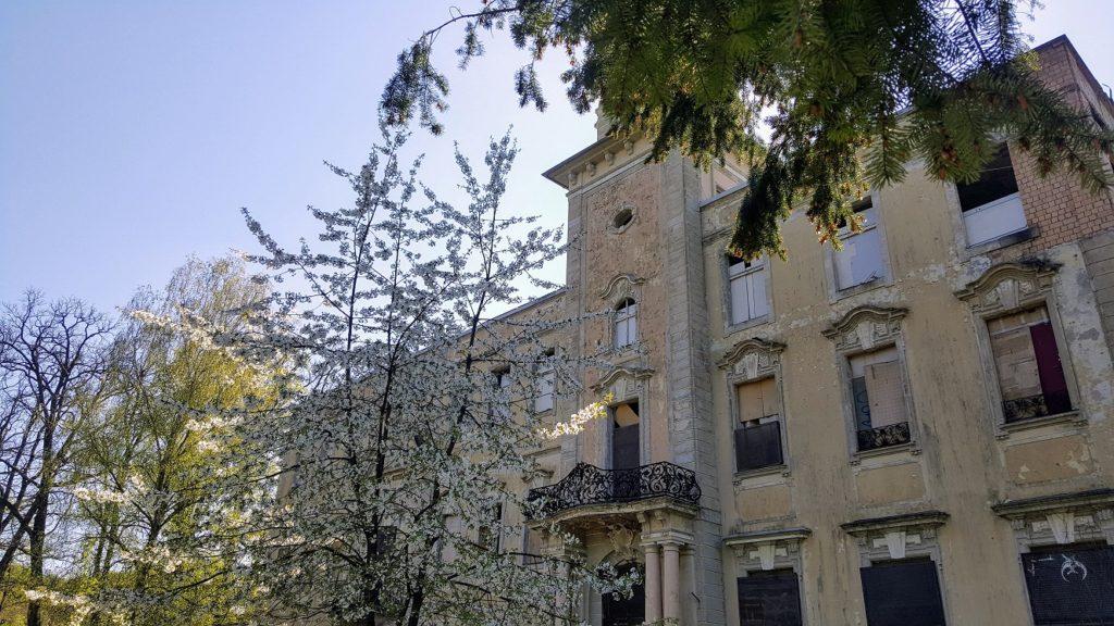 Schloss Dammsmühle Außenansicht mit abblätterndem Putz und vergitterten Fenstern.